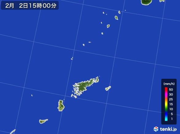 奄美諸島(鹿児島県)の雨雲レーダー(2017年02月02日)