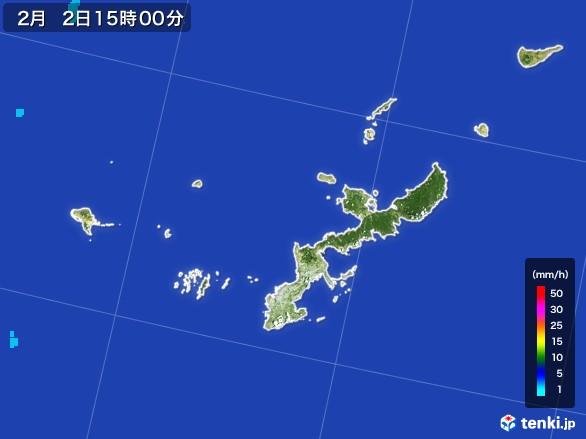 沖縄県の雨雲レーダー(2017年02月02日)