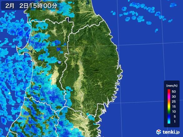 岩手県の雨雲レーダー(2017年02月02日)