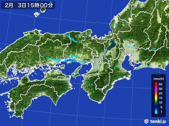 近畿地方の雨雲レーダー(2017年02月03日)
