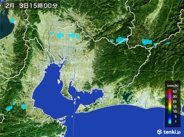 愛知県の雨雲レーダー(2017年02月03日)