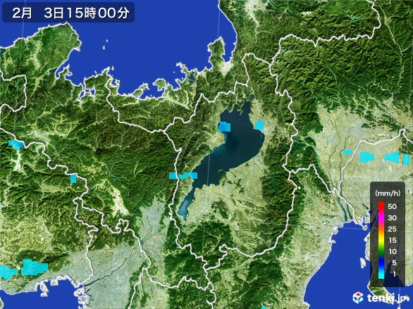 滋賀県の雨雲レーダー(2017年02月03日)