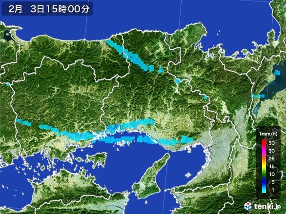 兵庫県の雨雲レーダー(2017年02月03日)