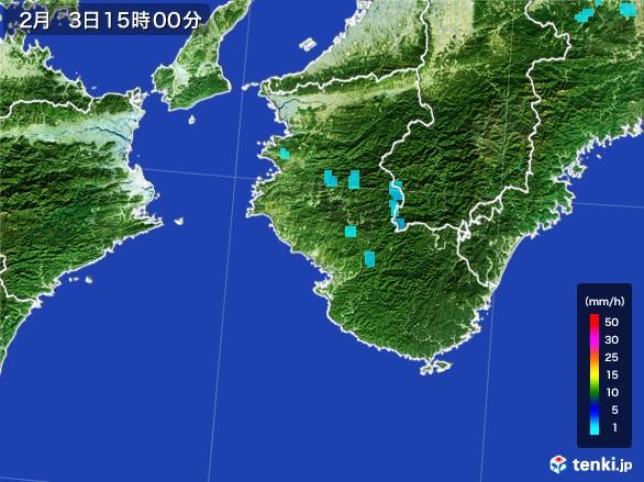 和歌山県の雨雲レーダー(2017年02月03日)
