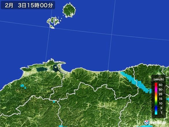 鳥取県の雨雲レーダー(2017年02月03日)
