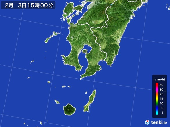 鹿児島県の雨雲レーダー(2017年02月03日)