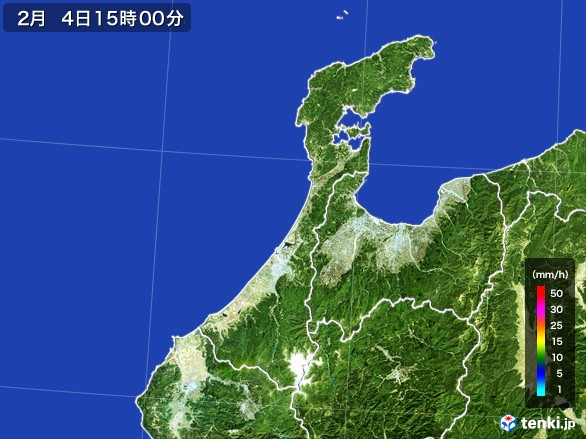 石川県の雨雲レーダー(2017年02月04日)
