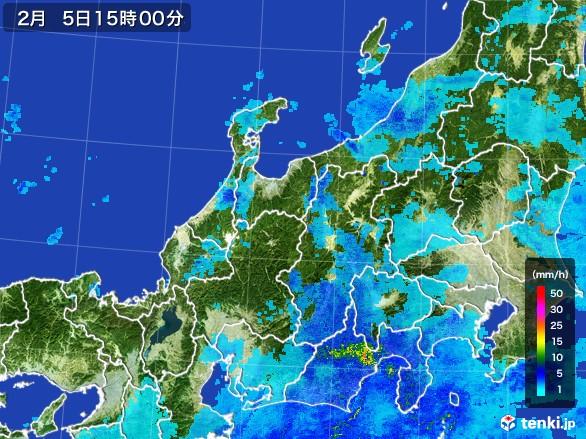 北陸地方の雨雲レーダー(2017年02月05日)