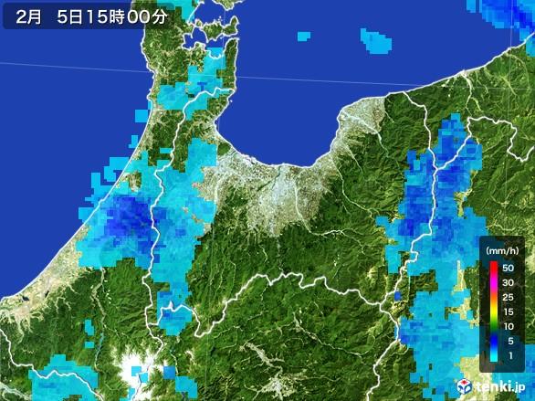 富山県の雨雲レーダー(2017年02月05日)