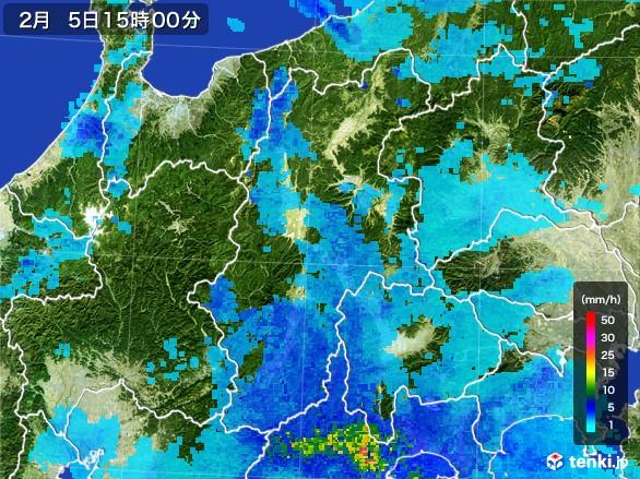 長野県の雨雲レーダー(2017年02月05日)