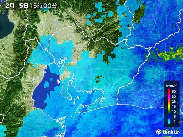 愛知県の雨雲レーダー(2017年02月05日)