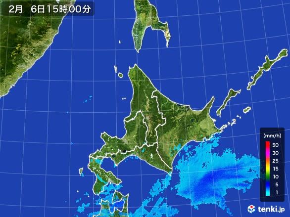 北海道地方の雨雲レーダー(2017年02月06日)