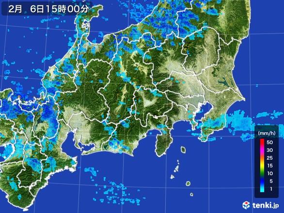 関東・甲信地方の雨雲レーダー(2017年02月06日)