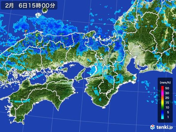 近畿地方の雨雲レーダー(2017年02月06日)