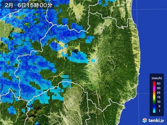 福島県の雨雲レーダー(2017年02月06日)