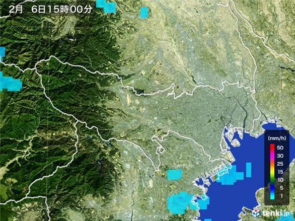 東京都の雨雲レーダー(2017年02月06日)