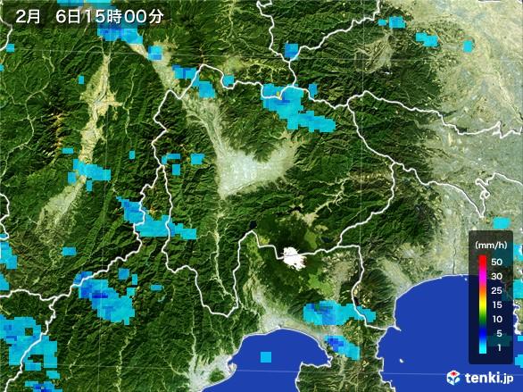 山梨県の雨雲レーダー(2017年02月06日)