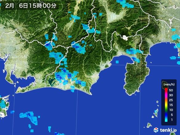 静岡県の雨雲レーダー(2017年02月06日)