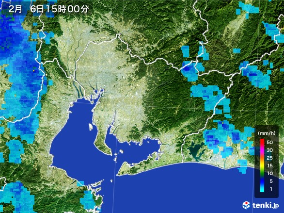 愛知県の雨雲レーダー(2017年02月06日)