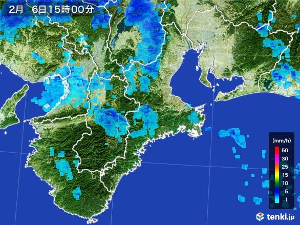 三重県の雨雲レーダー(2017年02月06日)