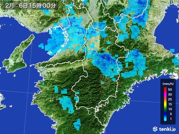 奈良県の雨雲レーダー(2017年02月06日)