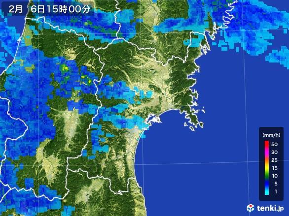 宮城県の雨雲レーダー(2017年02月06日)