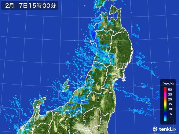 東北地方の雨雲レーダー(2017年02月07日)