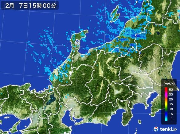 北陸地方の雨雲レーダー(2017年02月07日)