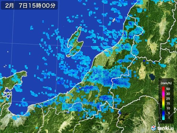 新潟県の雨雲レーダー(2017年02月07日)