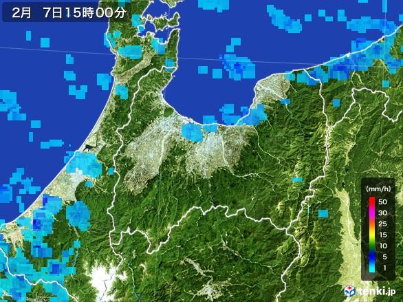 富山県の雨雲レーダー(2017年02月07日)