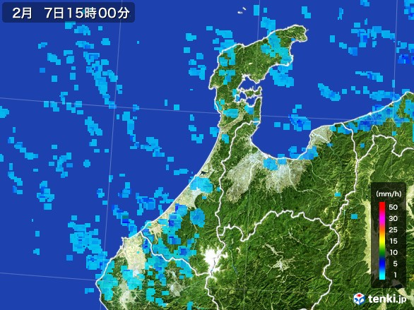 石川県の雨雲レーダー(2017年02月07日)