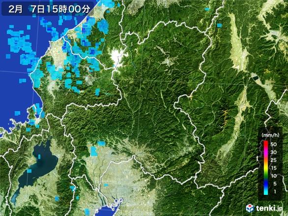 岐阜県の雨雲レーダー(2017年02月07日)