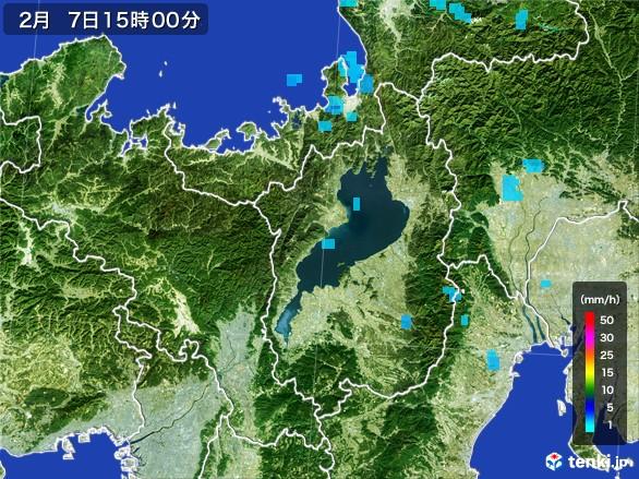 滋賀県の雨雲レーダー(2017年02月07日)