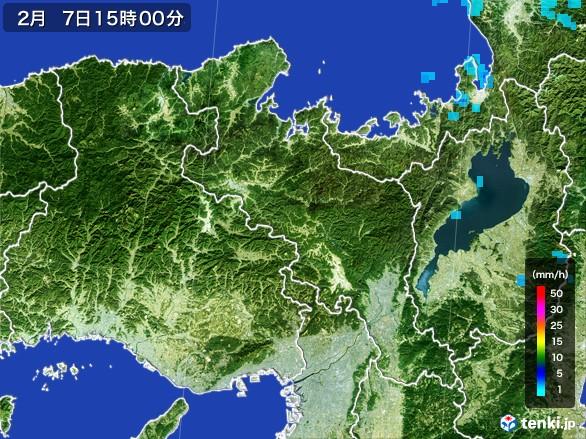 京都府の雨雲レーダー(2017年02月07日)