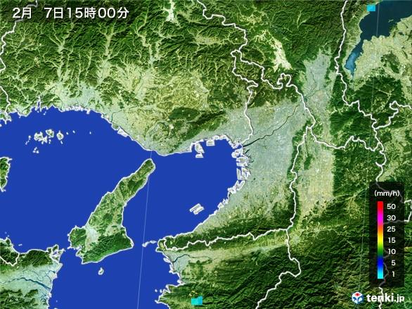 大阪府の雨雲レーダー(2017年02月07日)
