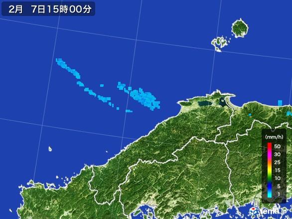 島根県の雨雲レーダー(2017年02月07日)