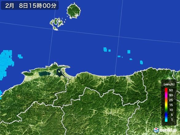 鳥取県の雨雲レーダー(2017年02月08日)