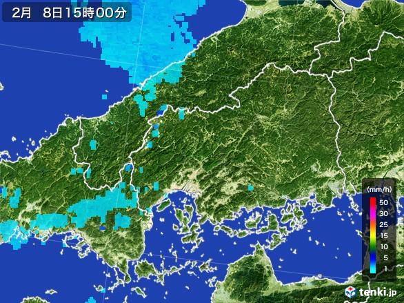 広島県の雨雲レーダー(2017年02月08日)