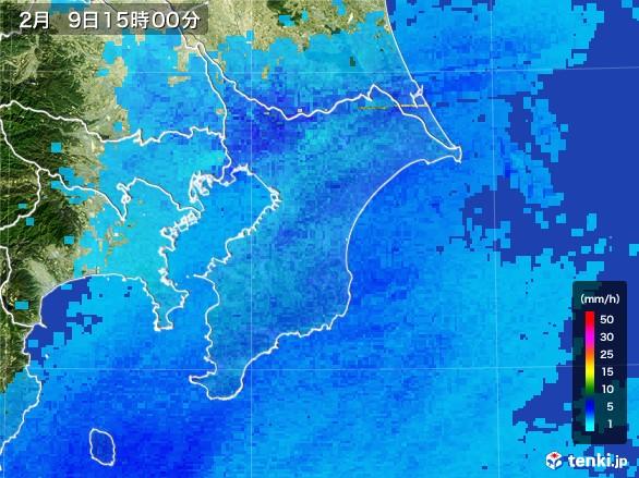 千葉県の雨雲レーダー(2017年02月09日)