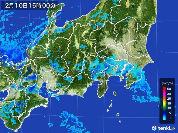 関東・甲信地方の雨雲レーダー(2017年02月10日)