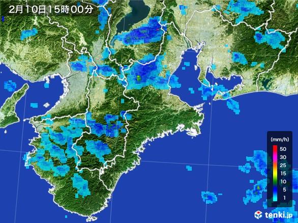 三重県の雨雲レーダー(2017年02月10日)