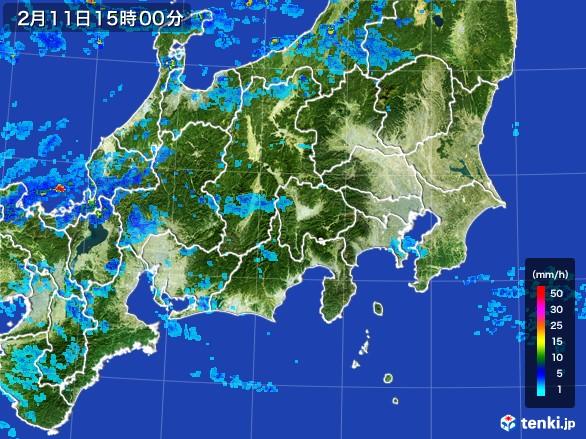 関東・甲信地方の雨雲レーダー(2017年02月11日)