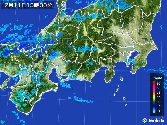 東海地方の雨雲レーダー(2017年02月11日)