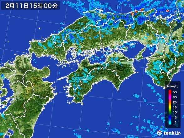 四国地方の雨雲レーダー(2017年02月11日)