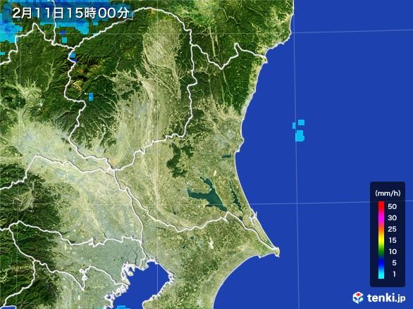 茨城県の雨雲レーダー(2017年02月11日)