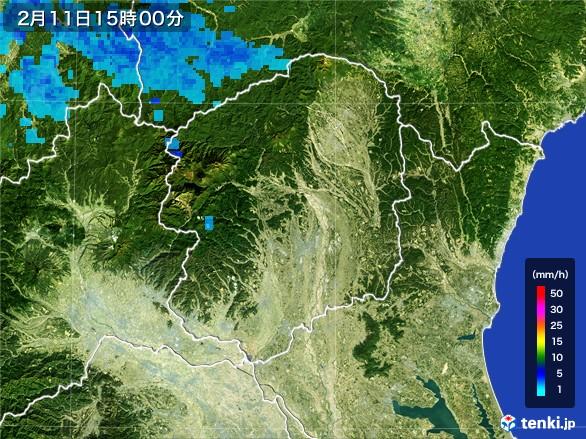 栃木県の雨雲レーダー(2017年02月11日)