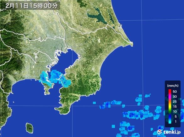 千葉県の雨雲レーダー(2017年02月11日)