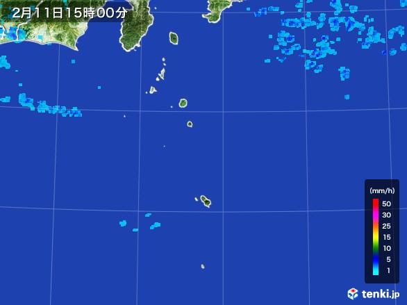 伊豆諸島(東京都)の雨雲レーダー(2017年02月11日)