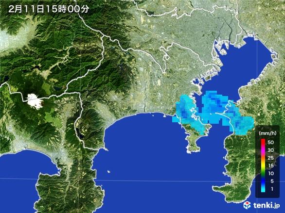 神奈川県の雨雲レーダー(2017年02月11日)
