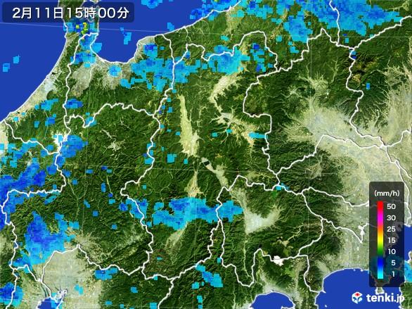 長野県の雨雲レーダー(2017年02月11日)
